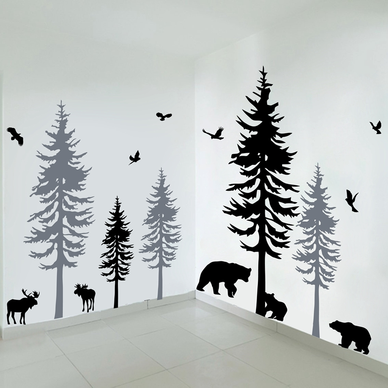Us 62 41 Huge Pine Tree With Birds Wall Decals Baby Room Vinyl Sticker Nursery Art Nature Decor Woodland Forest Large In