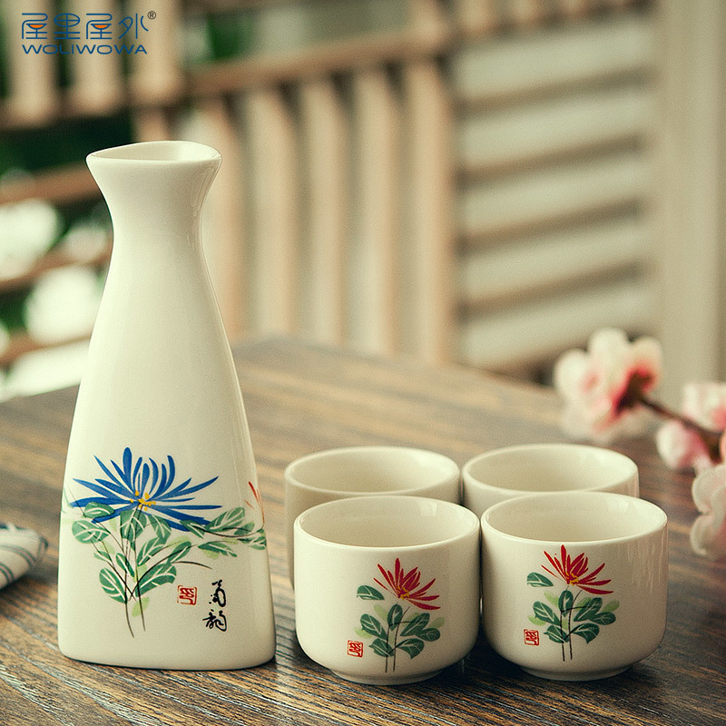 Style japonais bleu et blanc porcelaine tasse à vin liqueur en céramique saké vin pot ensemble antique haute température récipient à boire