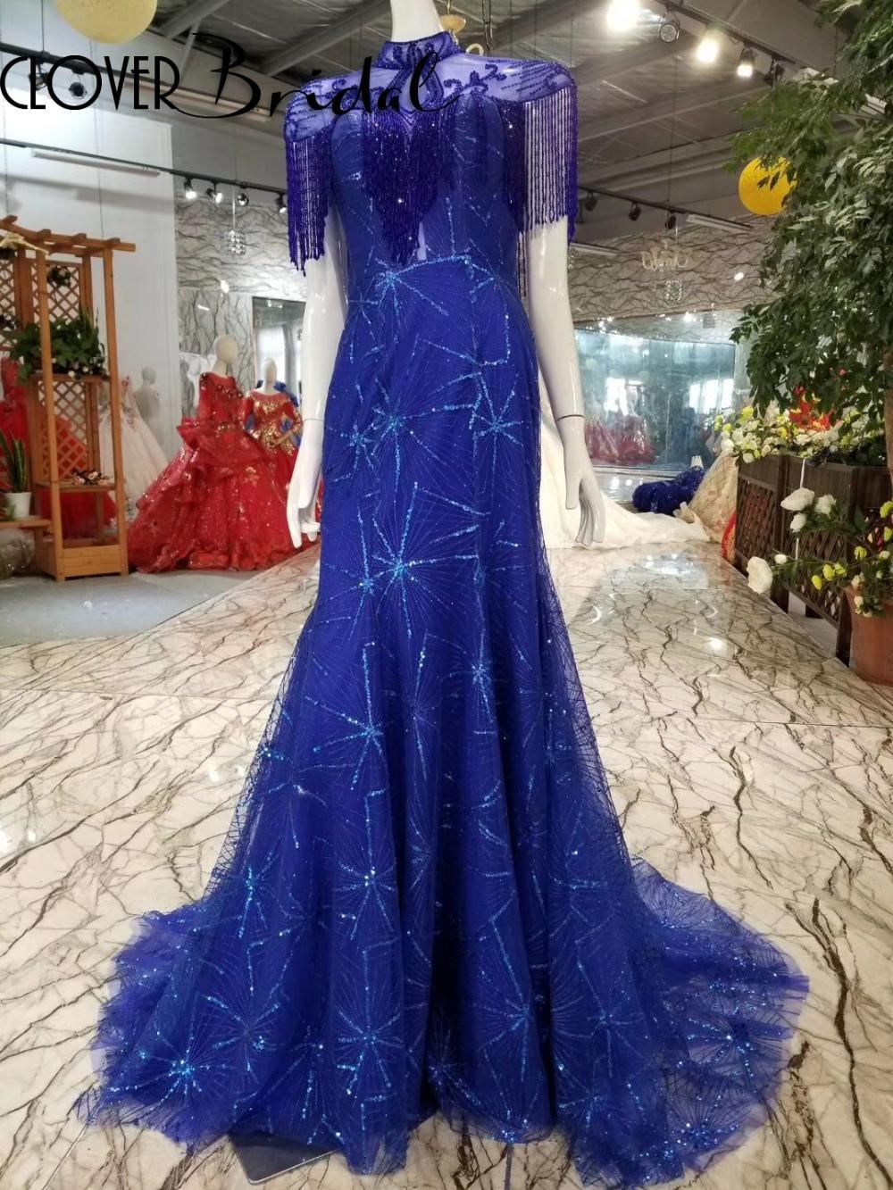 CloverBridal Fireworks patterns glitter beaded new long royal blue mermaid tassels   prom     dresses   2019 vestido de formatura longo