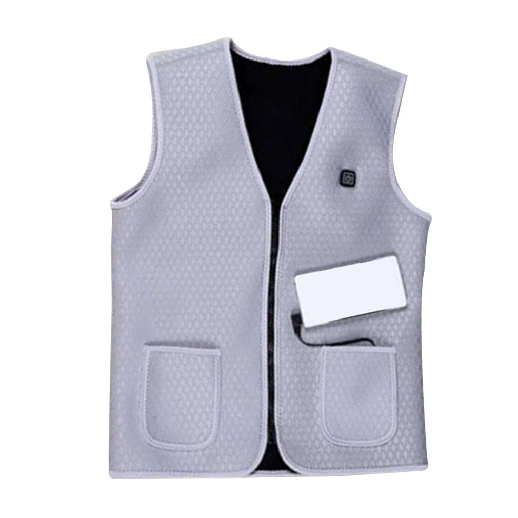 Gray White Men Sleeveless Vest USB Charging Heated Jacket Winter Clothes For Hiking Climbing Thermal Vest Heater VestGray White Men Sleeveless Vest USB Charging Heated Jacket Winter Clothes For Hiking Climbing Thermal Vest Heater Vest