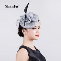 ShanFu Vintage Lady Sinamay Sagittate Feather Fascinator with Headband Leading yarn for Party Hats SFC12590