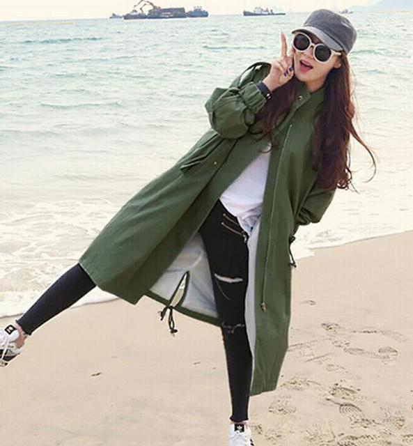 2016 Spring Women Temperament Long Coat Windbreaker Korean Fashion Loose Large Size Bat Sleeve Handsome Army Green Coat RM-120