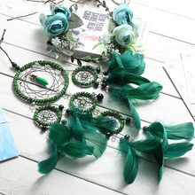 Beautiful Dream Catcher hand-woven 5 circle big Dreamcatcher with green feathers for home wall decorations