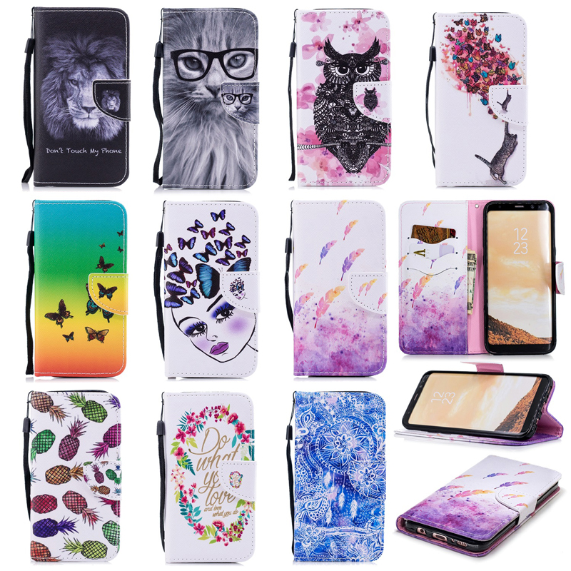 Fashion Butterfly Leather Flip Wallet <font><b>Phone</b></font> Soft Silicone <font><b>Case</b></font> Cover Shell Hull Coque for <font><b>Samsung</b></font> Galaxy S6 S7 Edge S8 <font><b>S9</b></font> Plus image