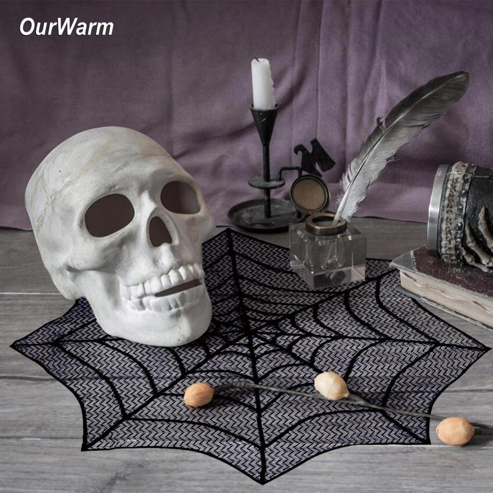 OurWarm Black Lace Mini Lace Fireplace Halloween Lace Tablecloth Mantle Scarf Cover Festive Party Supplie Spiderweb Table Topper in Party DIY Decorations from Home Garden