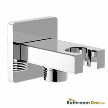 Square Chrome Bathroom Wall Connector Bracket with Shower Head Holder 04-010