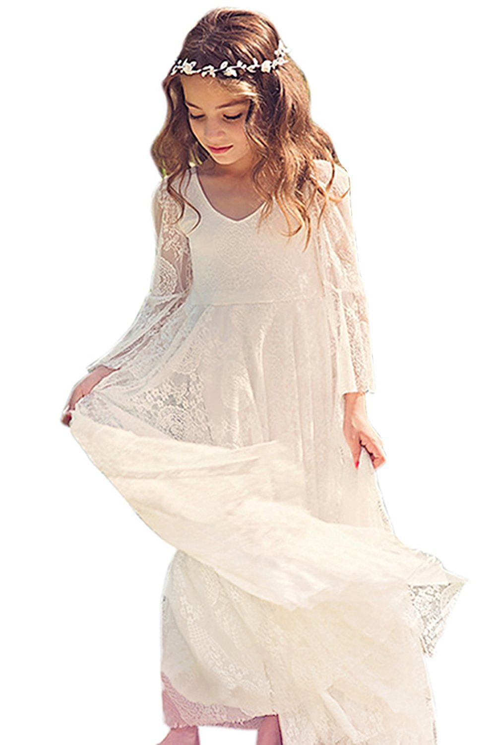 2018   Flower     Girl     Dresses   For Weddings A-line Scoop Long Sleeves Lace Bow Long First Communion   Dresses   For Little   Girls