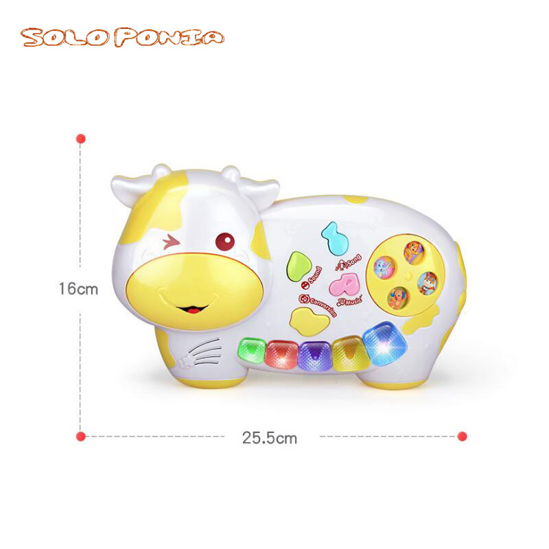 US $24 8 |2018 Music Songs New Useful Popular Baby Kid Cow Piano Music Toy  Developmental Yellow Blue Brinquedo Educativo Birthday Goft 034-in Toy