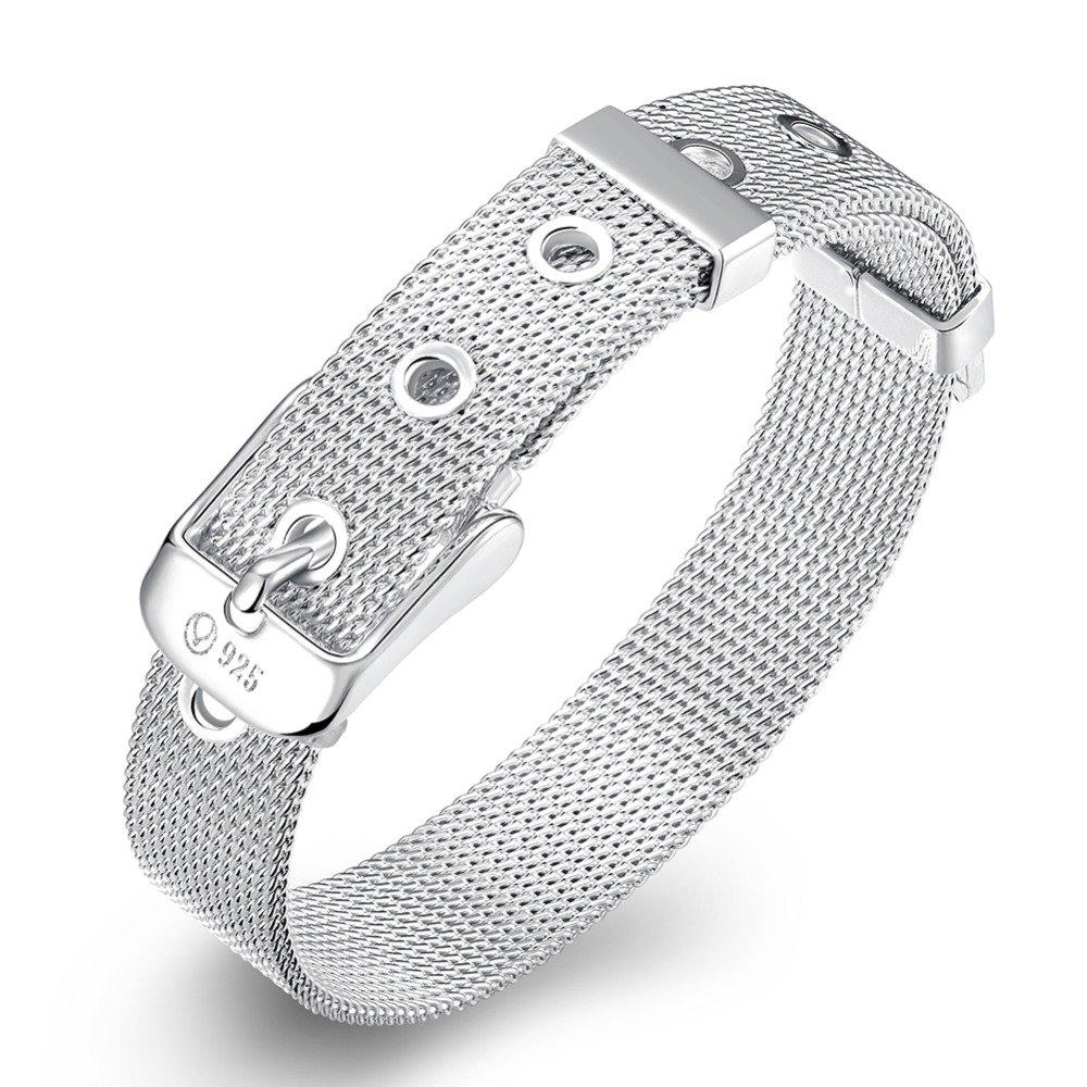 Best 10MM Adjustable Belt Buckle Chain Silver Color Bracelet Women Men Mesh Net Bracelet Bangle Jewelry pulseira para casamento