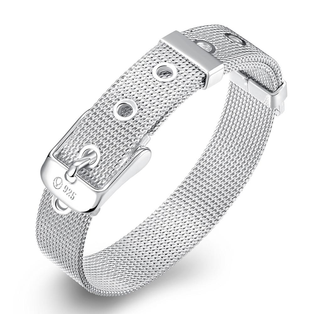 Mejor 10 MM Ajustable Cinturón Hebilla Cadena de Color Plata Pulsera Mujeres Hombres Malla Neta Pulsera Brazalete Joyería pulseira para casamento