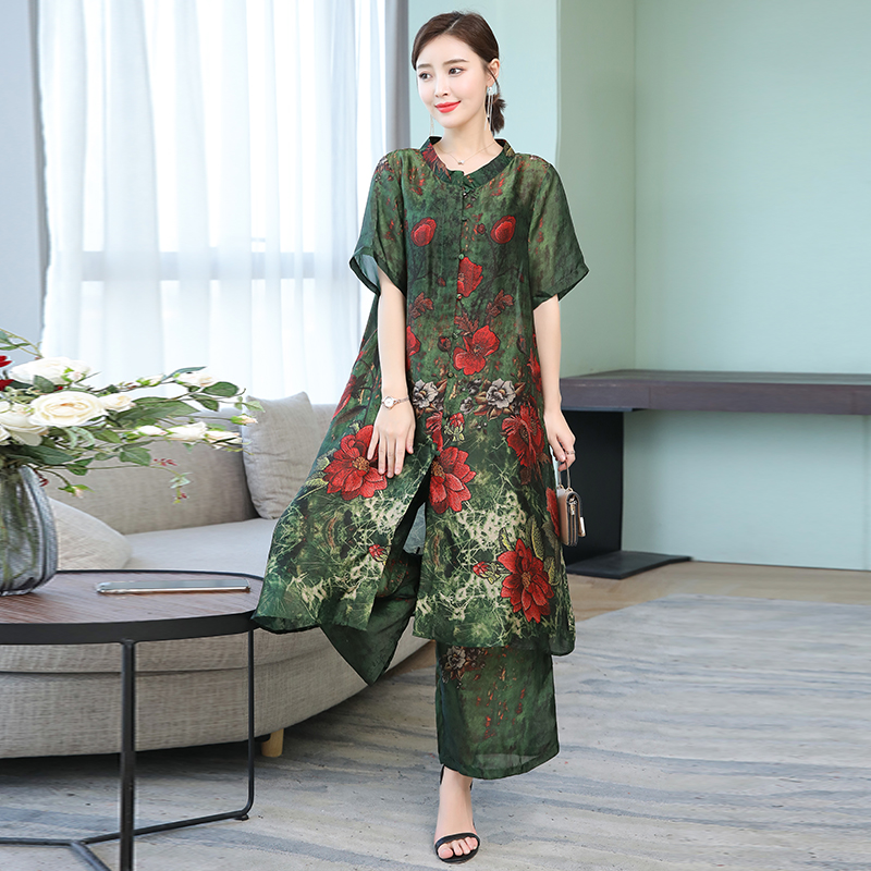 Women Plus Size Loose Casual Two Piece Wide Leg Pant Set and Long Top Female Co ord Set Print Floral Outfit Green Summer Clothes in Women 39 s Sets from Women 39 s Clothing