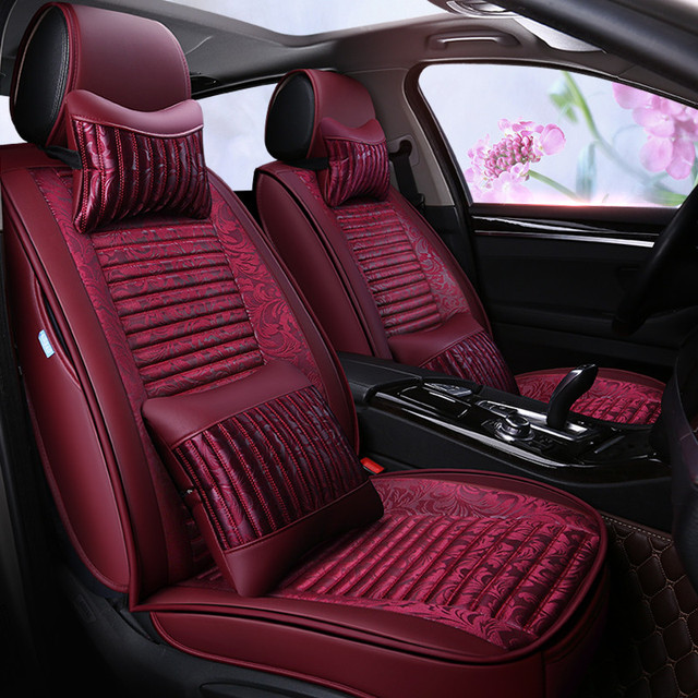 Leather Fabric General Car Seat Cover Red Model Best Interior Accessories