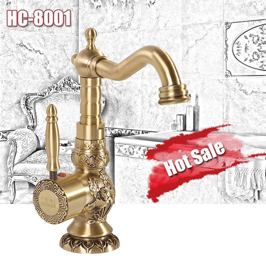 1PC High Quality new Deck Mounted Single Handle Bathroom Sink Mixer Faucet/ crane/ tap Antique Brass Hot and Cold Water free shipping single handle high end bathroom faucet flg100172 deck mounted mixer solid brass crane curved gold sink mixer