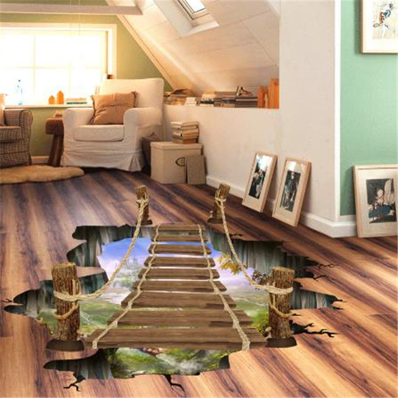 3D Flooring Wallpapers Removable PVC Self Adhesive Wallpapers Bridge Photo Wall Papers Stickers Home Decor for Kids Living Room