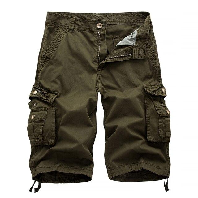 Summer 2019 Men Shorts Casual Men's Fashion Cargo Shorts Male Army workoutshort Homme Cotton big pocket Shorts mensshortspant 38 1