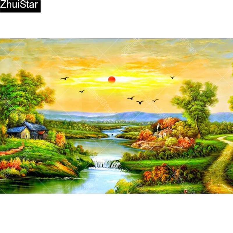 Full Square 5D DIY Diamond Painting Beautiful scenery Embroidery Cross Stitch Mosaic Home Decor Gift CJ18