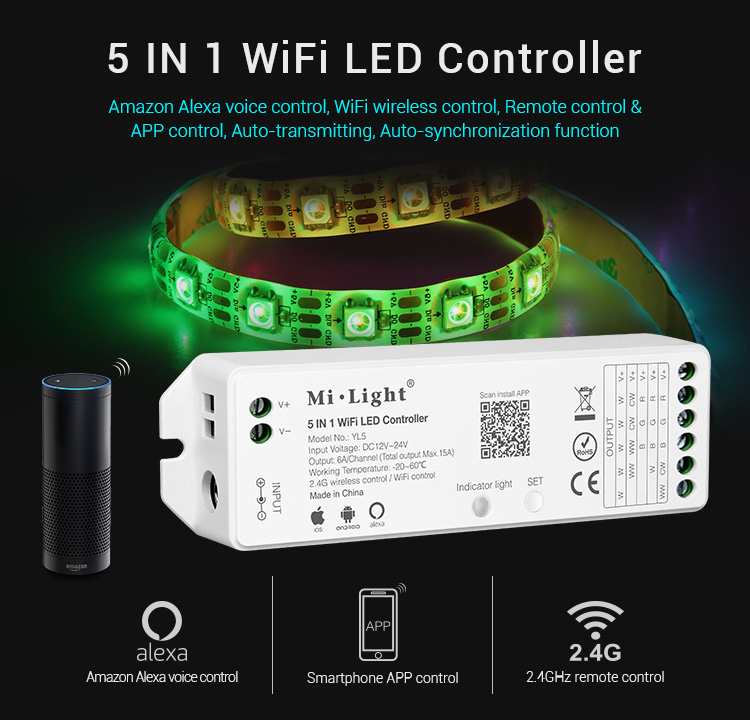 Milight YL5 5 in 1 LED WIFI Controller For RGB RGBW RGB CCT Single color led strip light Amazon Alexa Voice phone App Remote smart wifi controller phone app rgb cct dimmer strip controller by amazon echo alexa google home smart voice control rgb strip