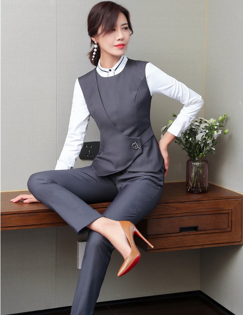 Elegant Grey Formal Uniform Designs Pantsuits With Pants And Vest Coat & Waistcoat For Women Business Work Wear Pants Suits