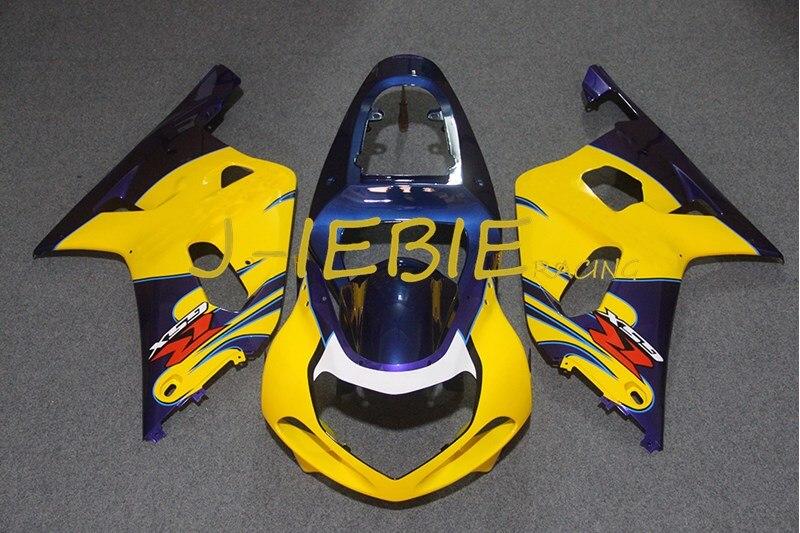 Blue yellow Injection Fairing Body Work Frame Kit for SUZUKI GSXR 600/750 GSXR600 GSXR750 2001 2002 2003