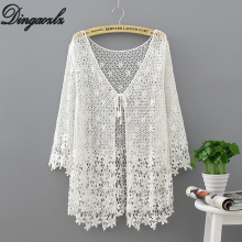 Dingaozlz Lace embroidered Women Cardigan Hollow out Crochet Sunscreen blouse Bikini Swimsuit Female Sexy Beach shirt embroidered hollow out batwing kimono