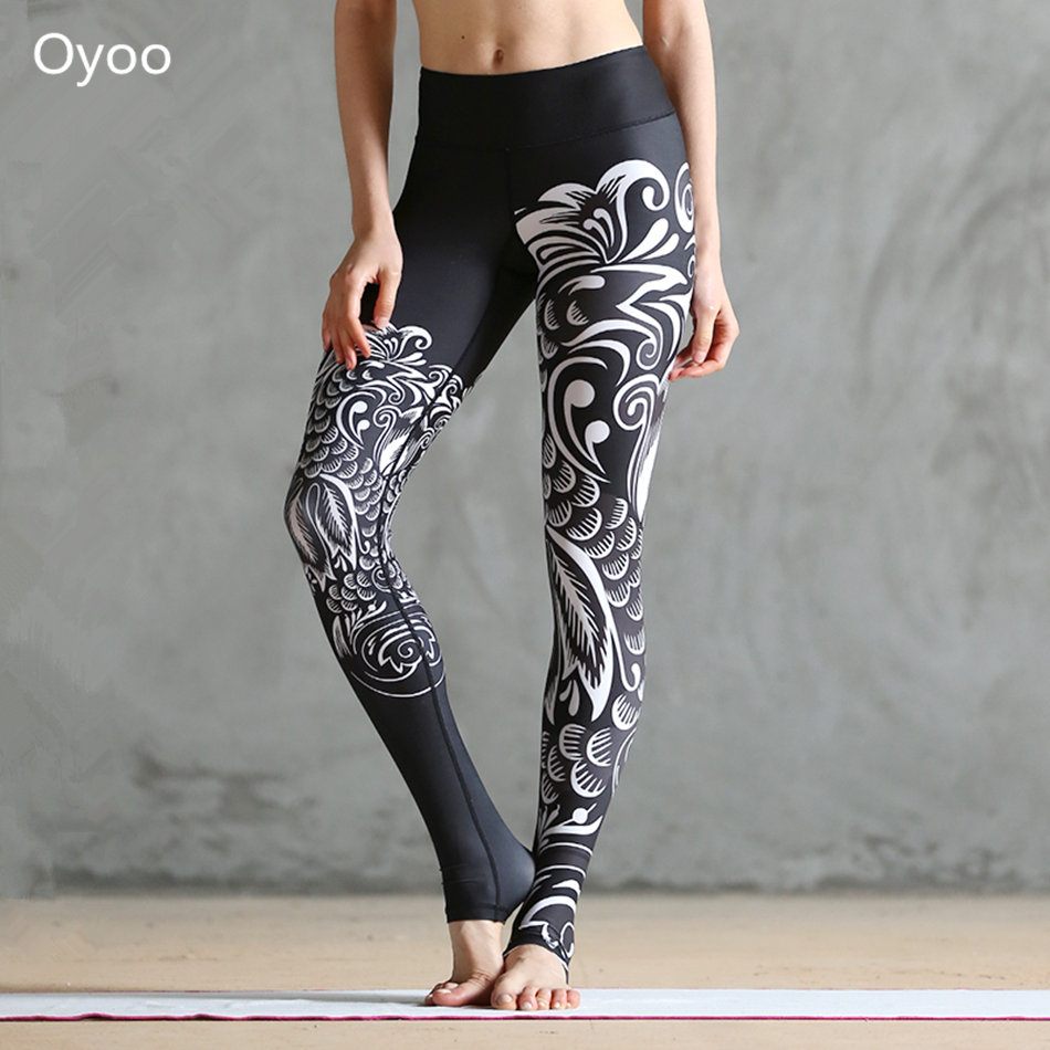 Oyoo Black Phoenix Paper Cut Printed Yoga Leggings Womens Workout Elastic Running Gym Fitness Pants Sexy Sport Tights