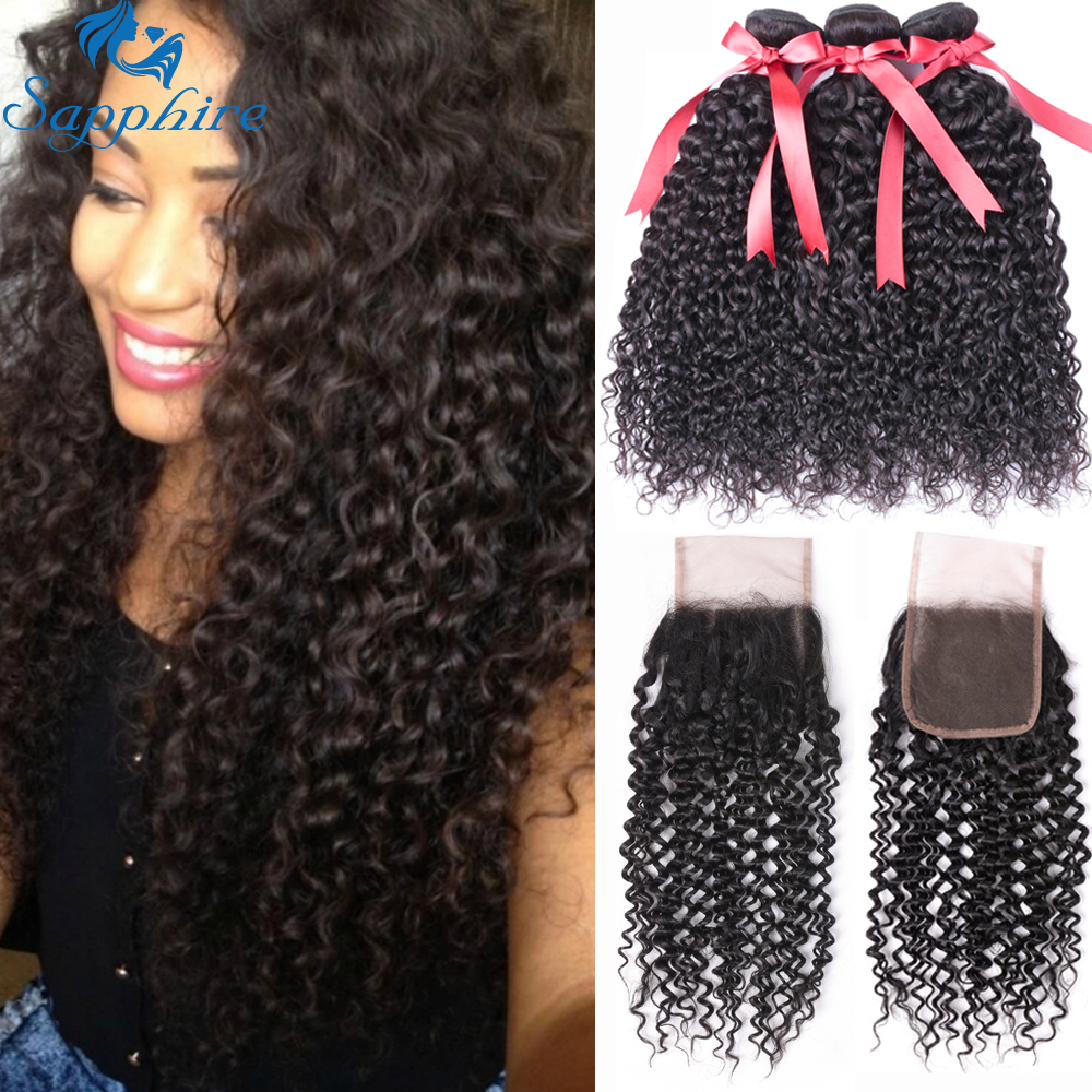 Sapphire Kinky Curly Human Hair Bundles With Closure Brazilian Hair Weave Deep Curly Wave Bundles With Closure Hair Extension