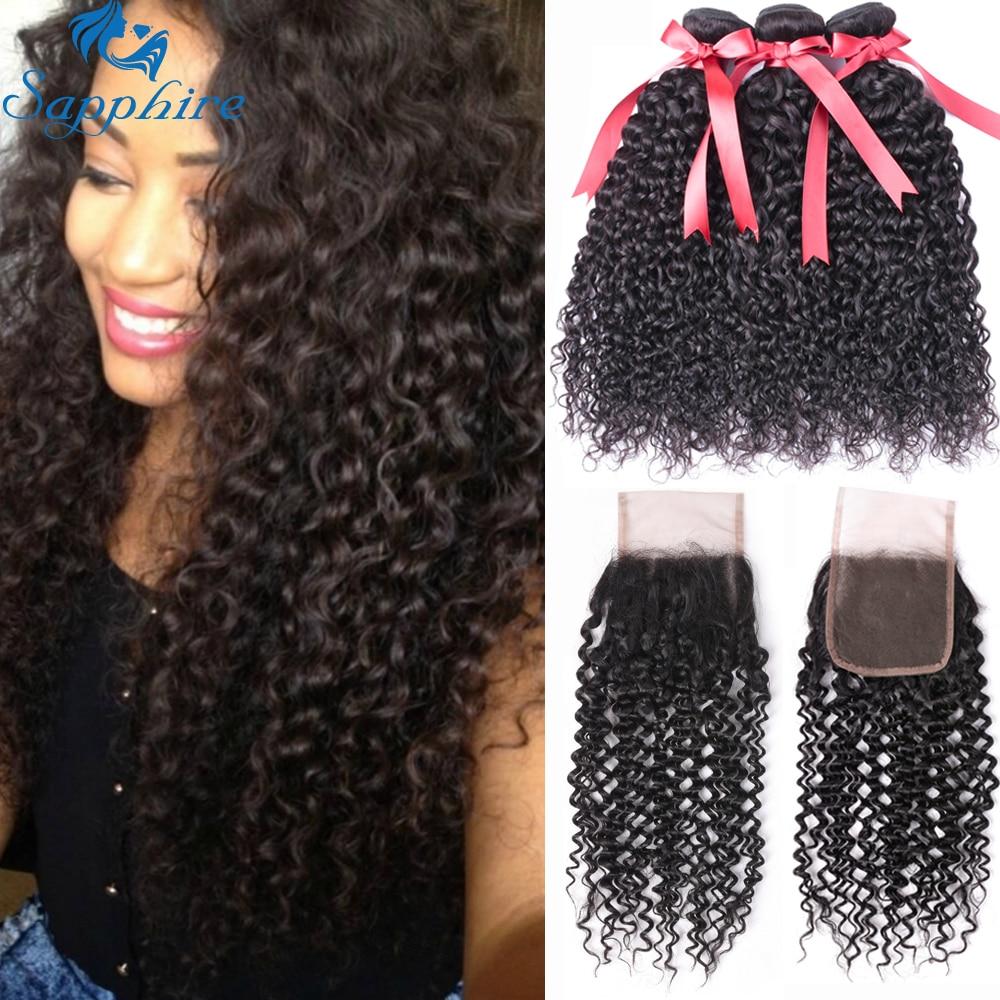 Sapphire Kinky Curly Human Hair Bundles With Closure Brazilian Hair