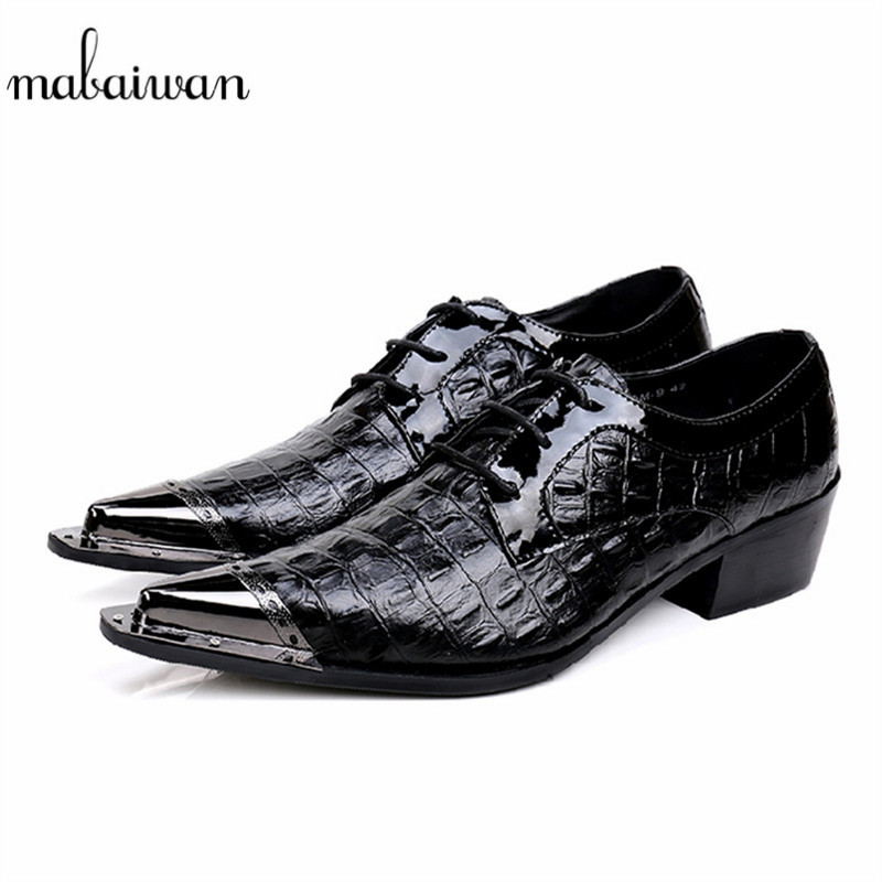 Mabaiwan Fashion New Design Leather Dress Men Shoes Lace Up Italy Business Wedding Formal Shoes Men Metal Pointed Toe Male Flats mabaiwan black genuine leather men shoes dress wedding male brogue shoes men lace up oxfords prom slipper business formal flats