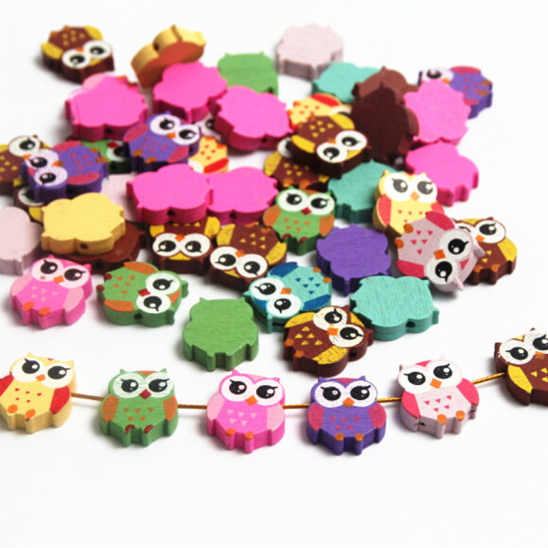 2016 Wooden Beads 50pcs Owl Styles Lovely Spacer Beading Wood ...