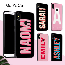 MaiYaCa Pink PERSONALISED CUSTOM Name INITIALS MONOGRAM Case For Xiaomi Redmi Note 5 Plus Mi 8 9 A2 7 Cover 4X 6A S2