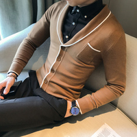 Top Quality Korean Simple Cardigan Men Brand New Slim Fit Elastic Mens Casual Sweater Long Sleeve All Match Knitted Pull Homme