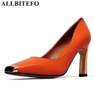 Image 2 - ALLBITEFO ขนาด: 33 41 ของแท้หนังสแควร์ toe ผู้หญิงส้นสูงรองเท้าโลหะ toe รองเท้าส้นสูงฤดูใบไม้ผลิผู้หญิงปั๊ม party ผู้หญิงรองเท้า