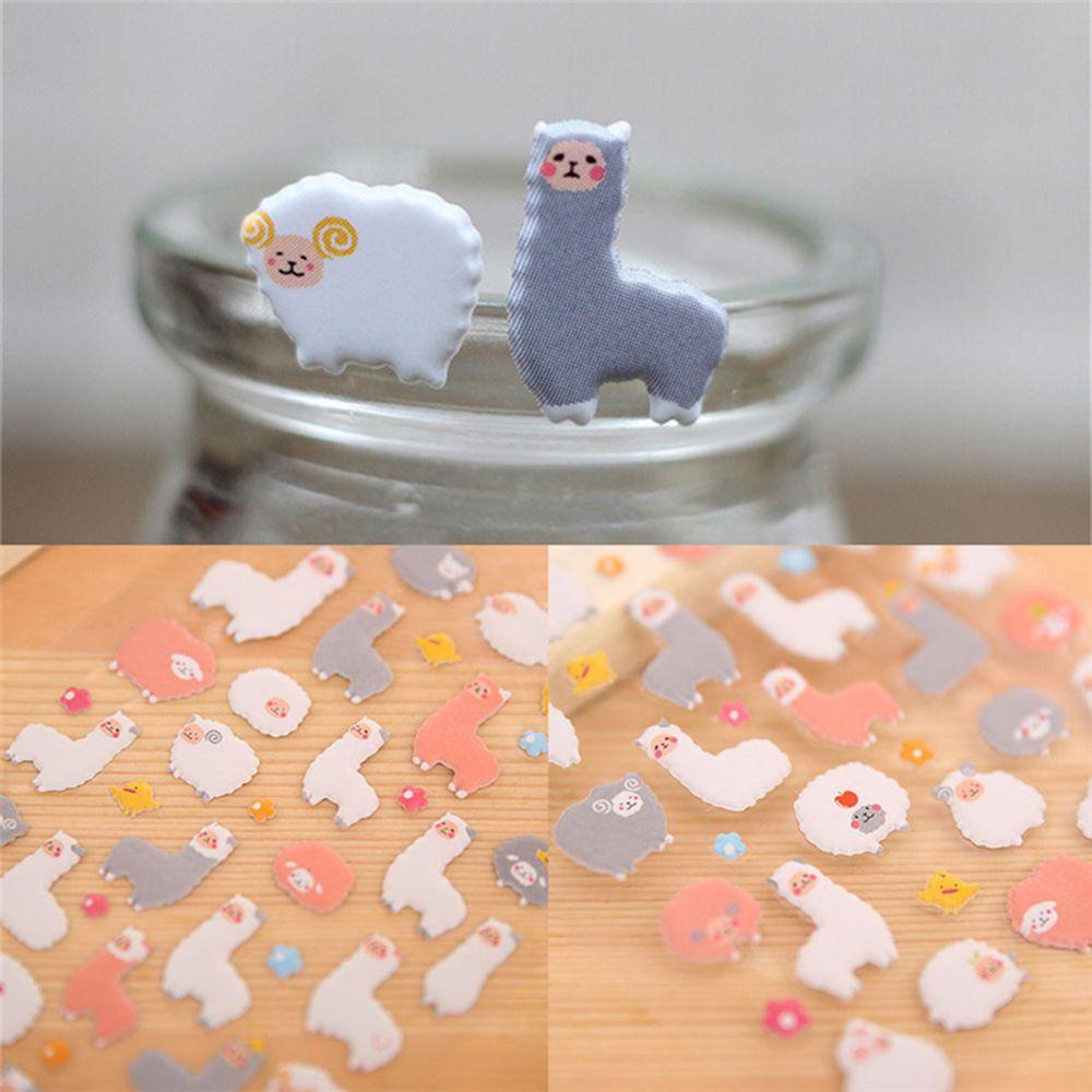 1 Sheet Cute 3D Puffy Sheep Alpaca Cartoon Sticker Kid Scrapbook Diary Photo Album Decor