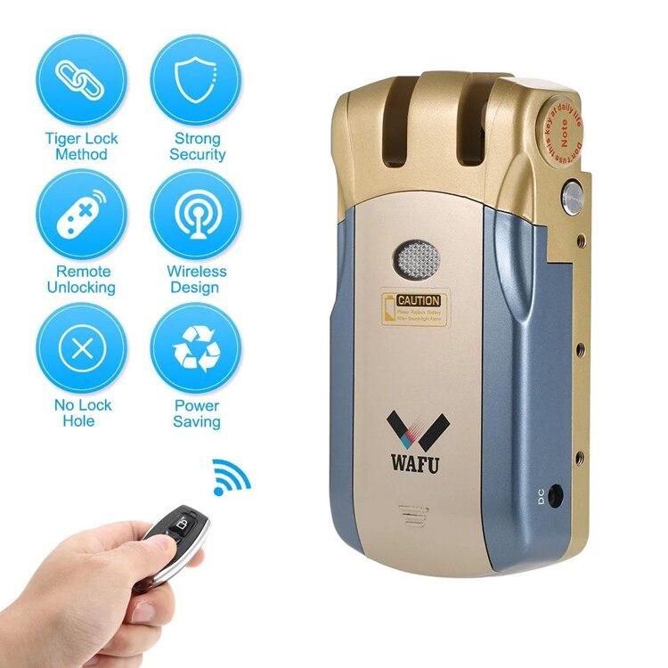 Wafu 018 serrure de porte électrique Bluetooth contrôle sans fil avec télécommande ouverture et fermeture serrure intelligente porte de sécurité installation facile