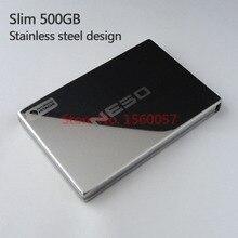 """Freies verschiffen NESO Slim Mobile HDD 500G Externe Festplatte Großhandel 2,5 """"Tragbare Festplatte USB2.0 edelstahl design"""