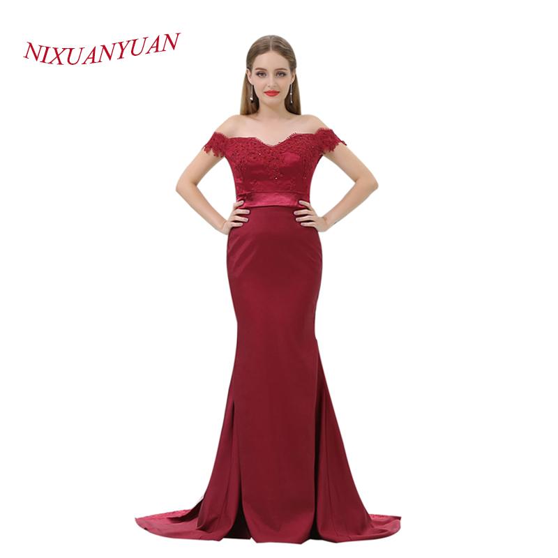 e1357103af2 NIXUANYUAN 2018 élégant Appliques perlées robes formelles bourgogne ...