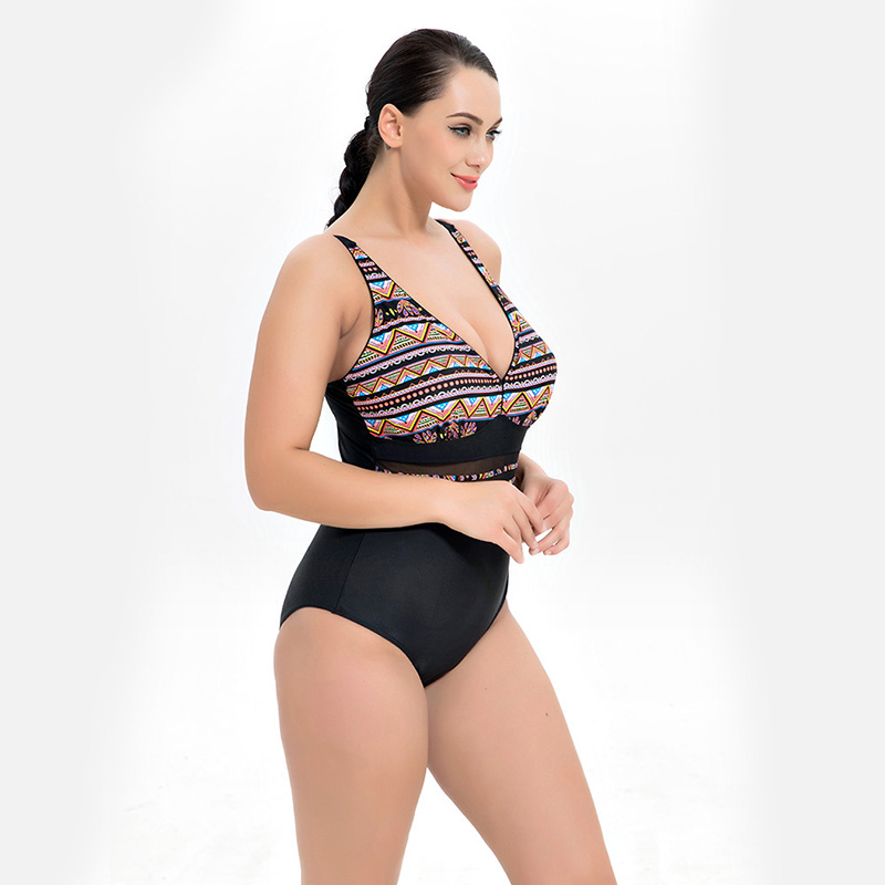 5aea5c2ddfe2d 2018 One Piece Swimsuit Plus Size Swimwear Women Vintage Retro Mesh Big  Size Bathing Suit Beach Wear One Piece Monokini Bodysuit-in Body Suits from  Sports ...
