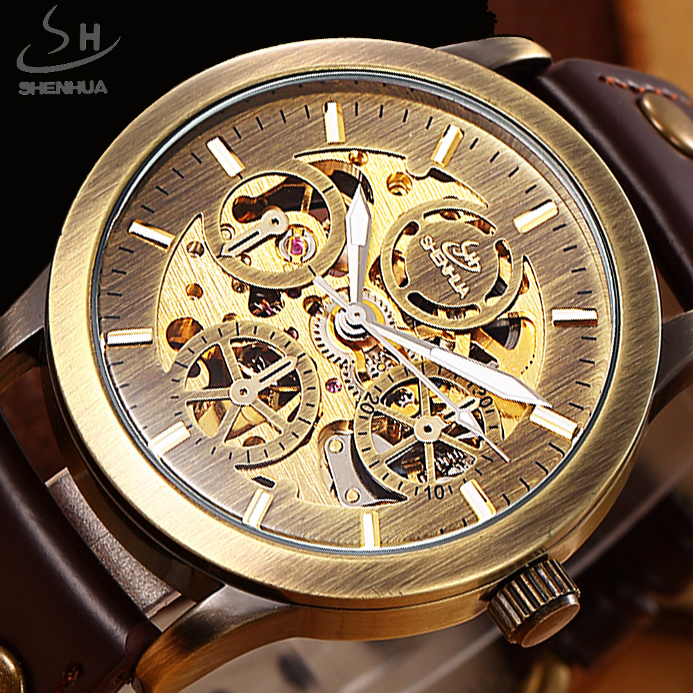 SHENHUA Retro Bronze Skeleton Automatic Mechanical Watch Men Watches Luxury Top Brand Leather Business Watch Relogio Masculino shenhua automatic mechanical tourbillon watches men top brand luxury leather band transparent skeleton watch relogio masculino