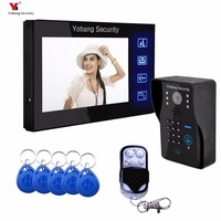 7 Inch Wired Video Door Phone With RFID Keyfobs Remote Video Doorbell Camera Wired Phone Doorbell