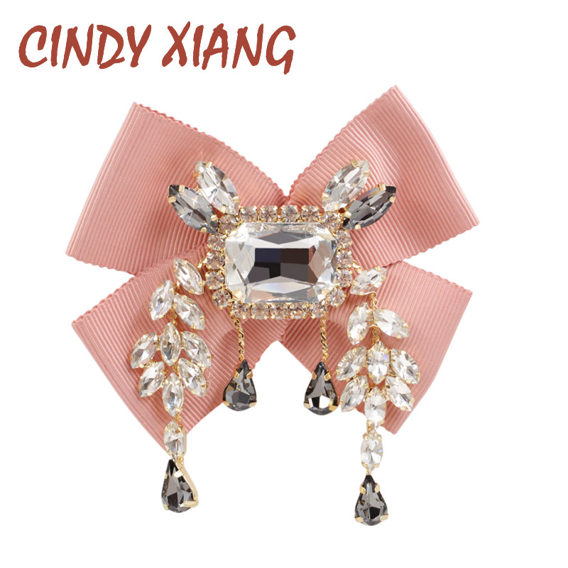 CINDY XIANG Fabric Bow Brooches for Women Wedding Necktie Tie Brooch Pin With Pendant Handmade Wedding Dress Accessories Gift