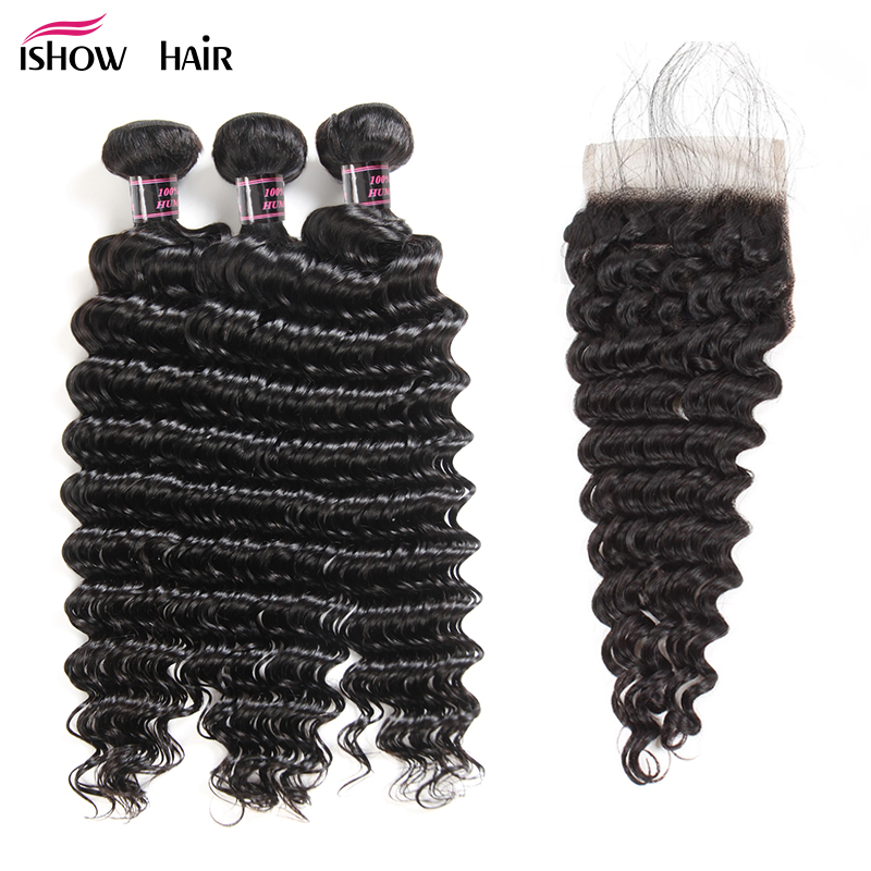 Ishow Peruvian Deep Wave 3 Bundles With Lace Closure Baby Hair 100 Human Hair Bundles With