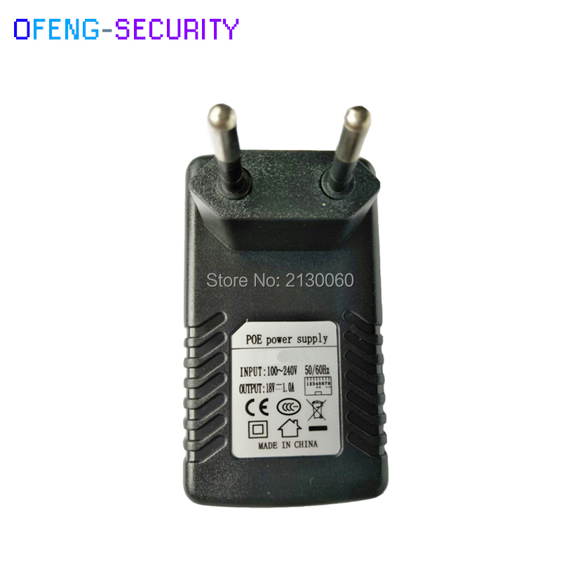 18V 1A POE Power Adapter Injector For IP Vedio, POE Injector POE Pin4/5(+),7/8(-) For CCTV IPC