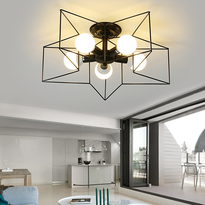 ФОТО Five-pointed Star Art Deco Ceiling lights and 1/5 head and black / white light body and E27 lamp holder for living room/ kitchen