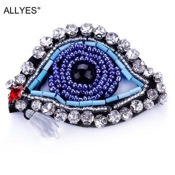 ALLYES Turecki Złe Oko Pin Broszki Dla Kobiet Niebieskie Oko Z Tear Szkła Kryształowego Rhinestone Collar Lapel Pins Broszka Biżuteria