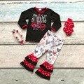 Хлопок день святого валентина бутик новорожденных девочек наряды детская одежда с длинным рукавом костюм сердце smooches лучших красный подходящие аксессуары