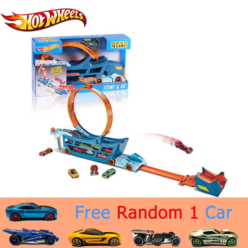 Original Hot Wheels Car Track Suit Multifunction Car Toy Automobile Storage Box Toy Model DWN56 Hotwheels Transport Truck Gift