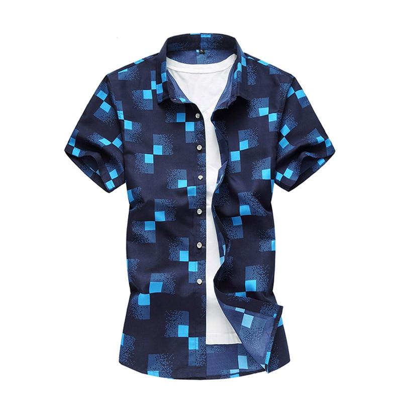Plus Size 5XL 6XL 7XL Summer Casual Men's Shirts Short Sleeve Plaid Shirts Button Down Navy White Design Camisa Blouse Men