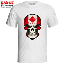 все цены на Mysterious Smile From Canada Skull T-shirt Awesome Cartoon Flag Style Brand T Shirt Cool Fashion Pop Women Men Top Tee