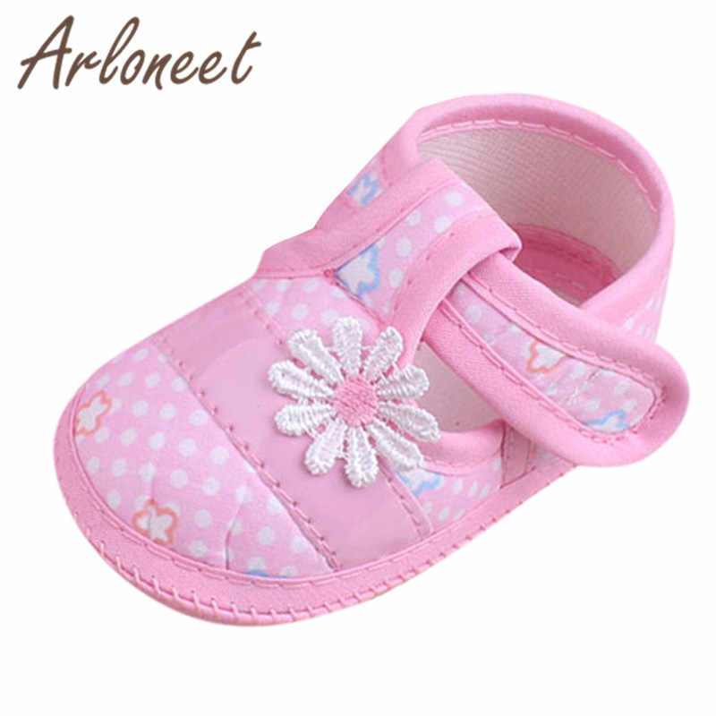 ARLONEET 2019 Newborn boys Girls baby cotton fabric kids soft Canvas Anti-slip Shoes Flower print Sneaker Baby Cloth Crib Shoes