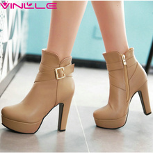 VINLLE 2016 Autumn Elegant Platform Boots Ladies Square High Heel White Boots Ankle Boots Round Women Fashion Boots Size 34-43